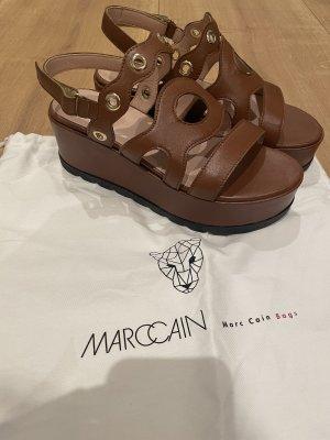 Marc Cain Sandales à talons hauts et plateforme brun cuir