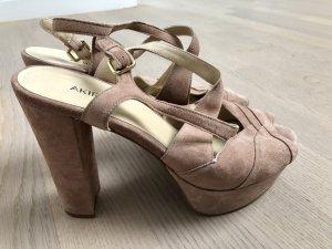 Akira Platform High-Heeled Sandal rose-gold-coloured suede