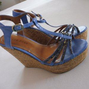Peppa rose Platform High-Heeled Sandal steel blue-sand brown mixture fibre