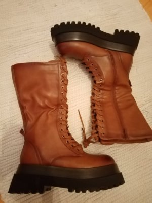 Platform Boots cognac-coloured mixture fibre