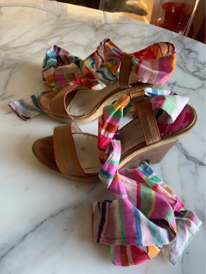 Platform sandals with fabric straps