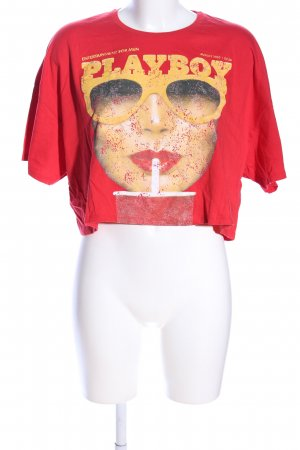 Playboy Cropped Shirt rot Motivdruck Casual-Look