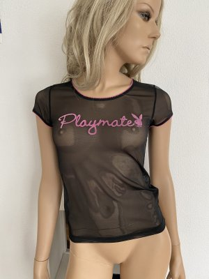 Playboy Mesh Shirt black-pink