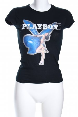 Playboy T-Shirt schwarz Motivdruck Casual-Look