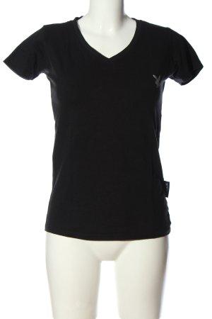 Playboy V-Neck Shirt black themed print casual look