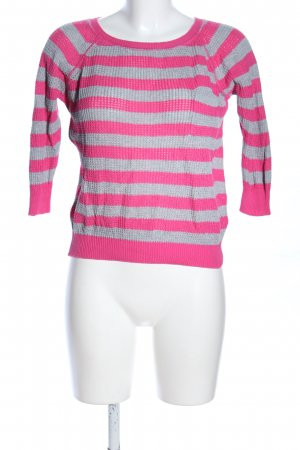 Playlife Rundhalspullover pink-silberfarben Streifenmuster Casual-Look