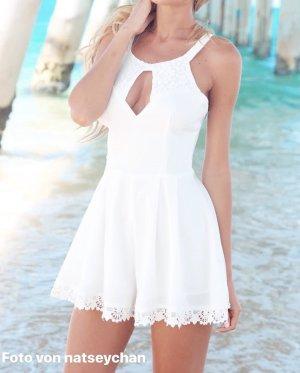 Playsuit Einteiler Jumpsuit overall weiß spitze lace creme