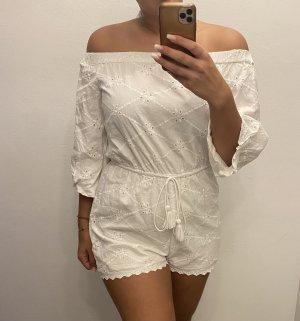 Zara Kurzer Jumpsuit biały
