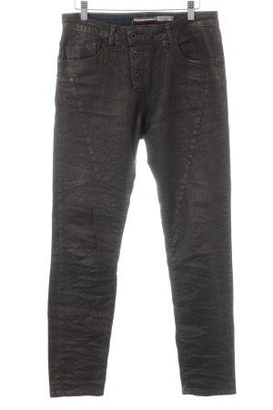 Please Boyfriend Jeans anthracite Logo application (leather)