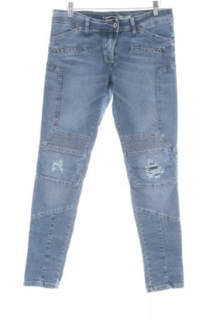 PLEASE Denim High Waist Jeans stahlblau Biker-Look