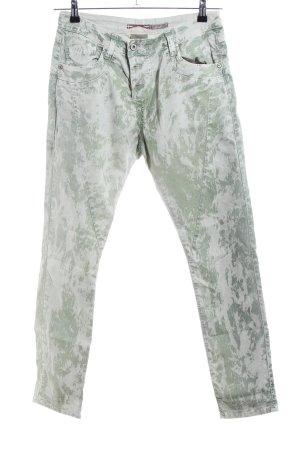 Please Pantalon cinq poches vert-blanc cassé style décontracté