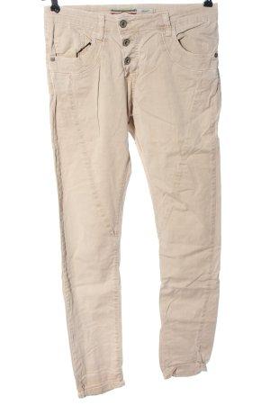 Please Pantalon cinq poches crème style décontracté