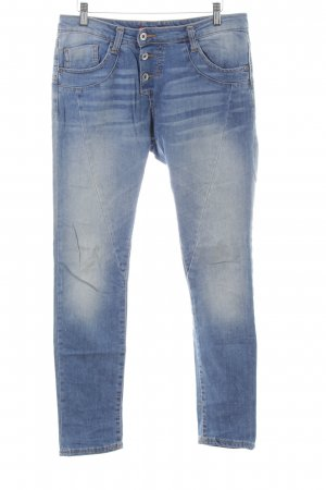 Please High Waist Jeans blau-weiß Casual-Look