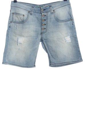 Please Pantalón corto de talle alto azul look casual