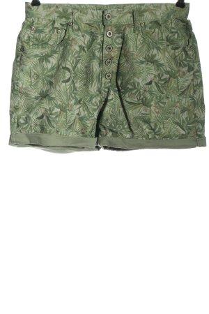 Please Hot Pants grün Allover-Druck Casual-Look