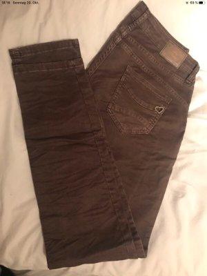 PLEASE Denim Pantalon taille basse brun foncé