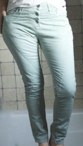 Please Jeans Italy, Modell P78A, lindgrün, sanftes Grün, ungetragen, Skinny, enges Bein, Boyfriend 3 Knöpfe, 5 Pockt, Herz, lässig, leger, gute Passform, Baumwolle, Elasthane, X Small XS, Gr. 36, NEU