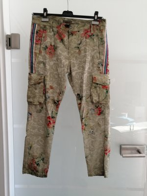 Please jeans Khaki rot lila Glitzer Blumen medium 38
