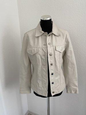 Please Skórzana kurtka w kolorze białej wełny-biały