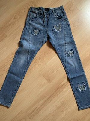 Please Jeans boyfriend blu acciaio Cotone