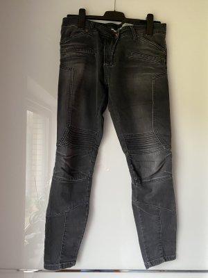 PLEASE Denim Biker jeans donkergrijs