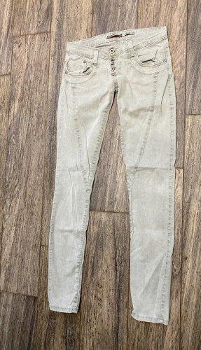 PLEASE Jeans S 36 grau grün P68 Denim Röhre P 68 skinny
