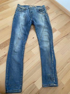Please Jeans cigarette bleu clair-doré
