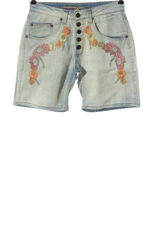 Please Pantalón corto de tela vaquera azul estampado floral look casual