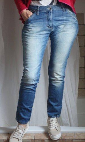 Please Jeans larghi azzurro-blu acciaio Cotone