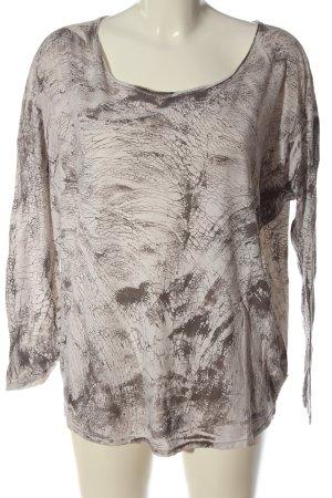 Please Langarm-Bluse wollweiß-braun abstraktes Muster Casual-Look