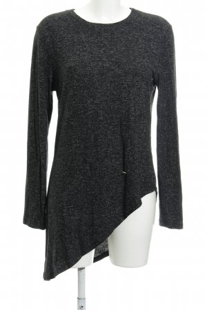 Please Jersey largo negro-gris oscuro moteado look casual