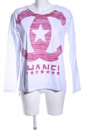 Please Longsleeve weiß-pink Motivdruck Casual-Look