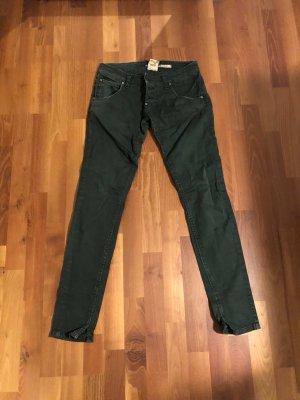 Please Jeans vita bassa verde scuro