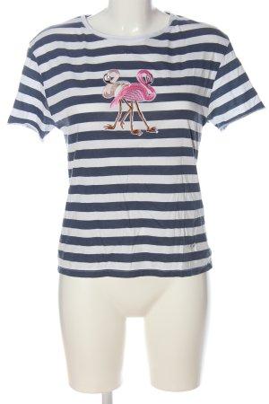 Please Camisa de rayas estampado temático look casual