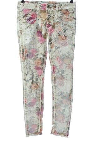 Please Pantalone a sigaretta grigio chiaro-rosa motivo astratto stile casual