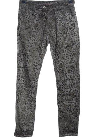 Please Drainpipe Trousers black-light grey allover print casual look