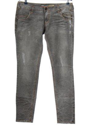 Please Jeans a sigaretta grigio chiaro Tessuto misto