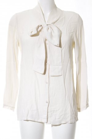 Please Tie-neck Blouse white business style