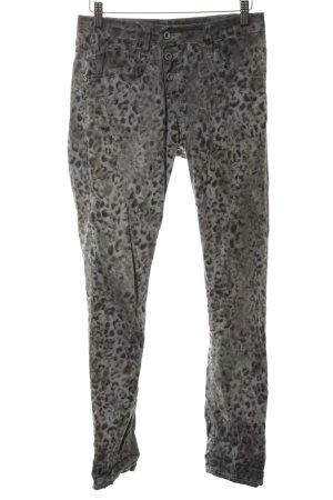 Please Skinny Jeans schwarz-hellgrau Animalmuster Casual-Look