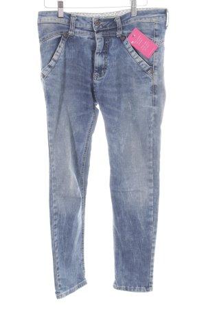 Please Skinny Jeans kornblumenblau-weiß Casual-Look