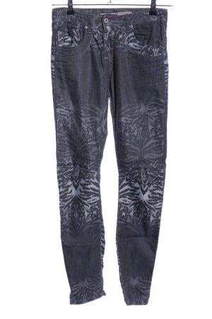 Please Slim Jeans blau abstraktes Muster Casual-Look