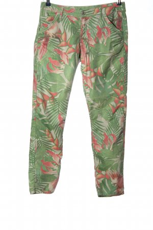 Please Stoffhose grün-pink abstraktes Muster Casual-Look