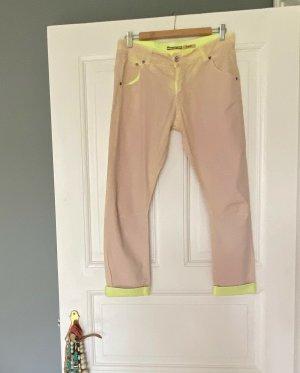 Please Pantalon «Baggy» beige clair-jaune fluo coton
