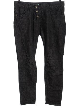 Please Jeans a gamba dritta nero puntinato stile casual