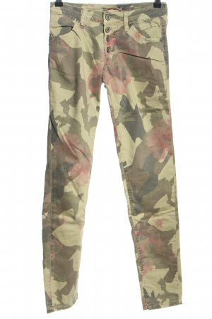 Please Stretch Jeans khaki-pink Camouflagemuster Casual-Look
