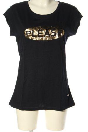 Please Camiseta negro-color oro letras impresas look casual