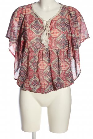 Please Transparenz-Bluse Allover-Druck Casual-Look