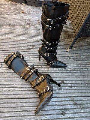 pleaser Stiefel pleaser USA Größe 37 High Heels schwarz Gothic Absatz 9,5 cm. mit Schnallen