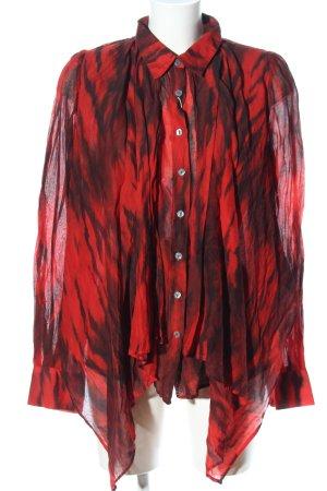 Plein sud Hemd-Bluse rot-schwarz abstraktes Muster Casual-Look