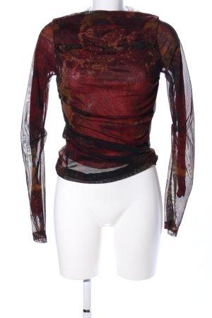 Plein Sud Jeans Langarm-Bluse rot-schwarz abstraktes Muster Elegant